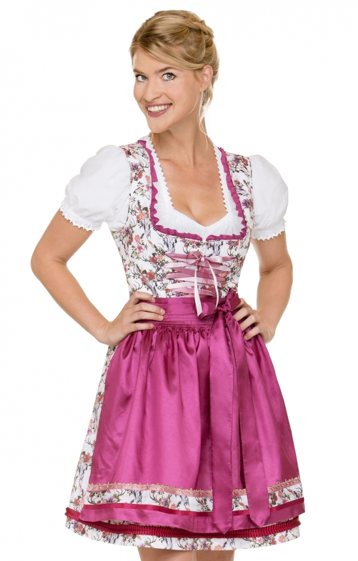 German Mini dirndl 2pcs. Jacy flower pink 50 cm