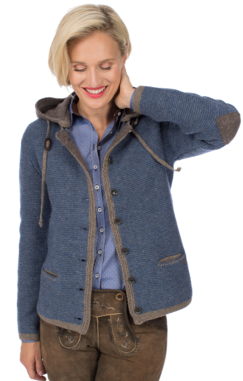 Traditional Cardigan HALLSTATT Hoodie jeans blue brown von Spieth & Wensky