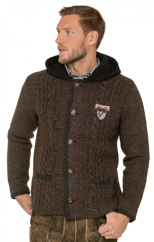 Traditional german cardigan INGMAR bison