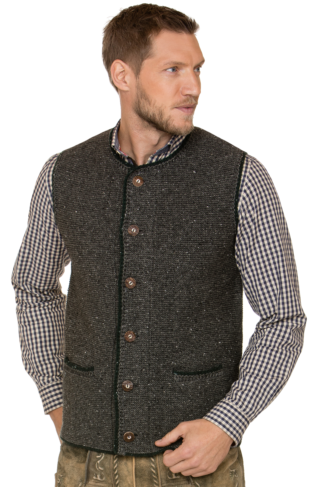 German knitted waistcoat ANDY pebble von Stockerpoint
