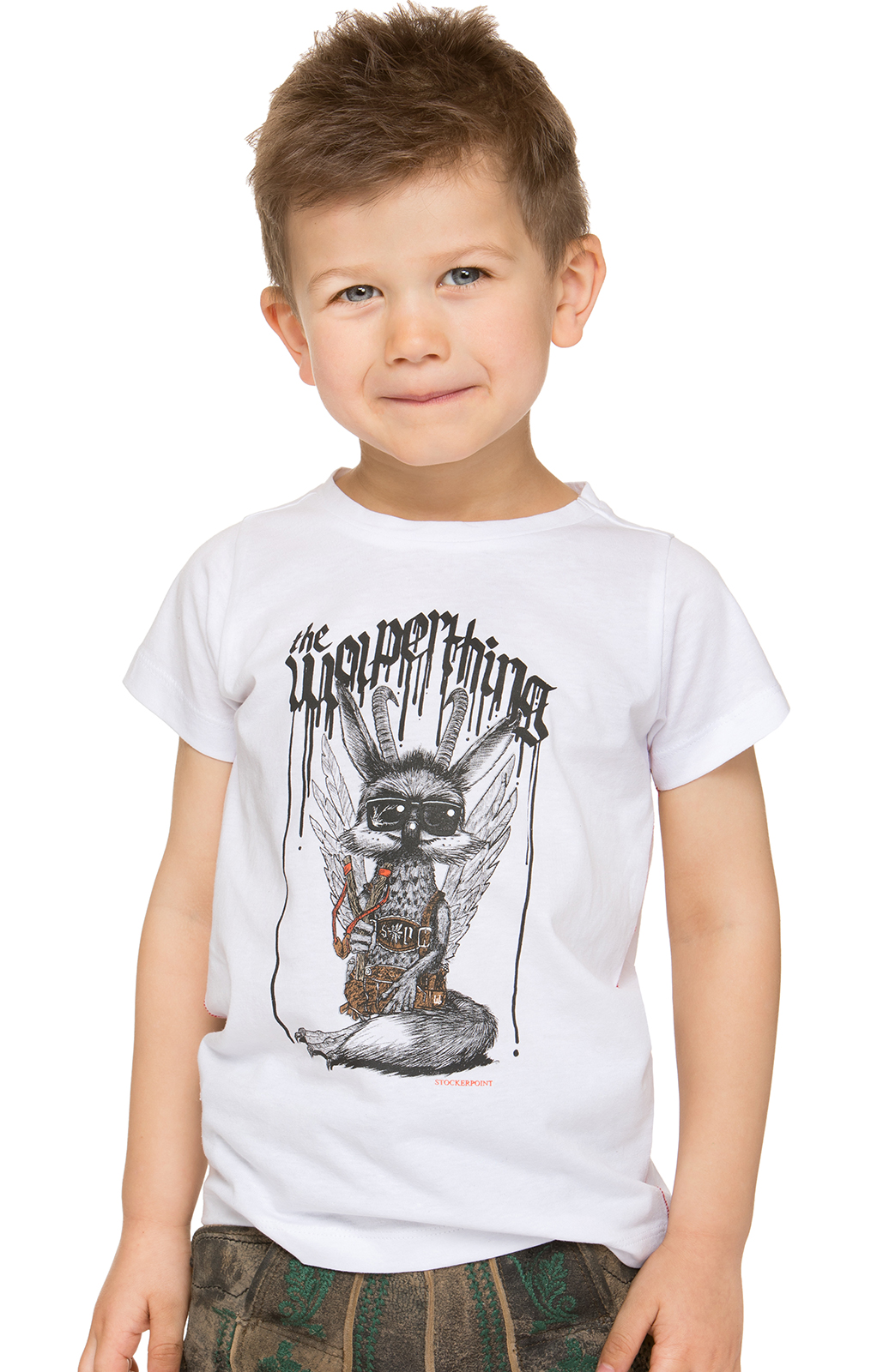 Children traditional shirt WOLPIBOY white von Stockerpoint