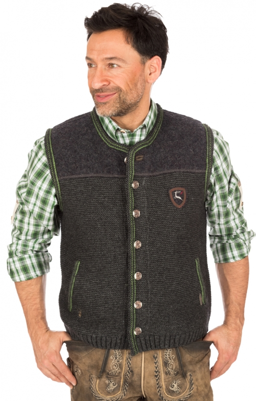 German knitted waistcoat RAMSAU SW darkgrey-grass
