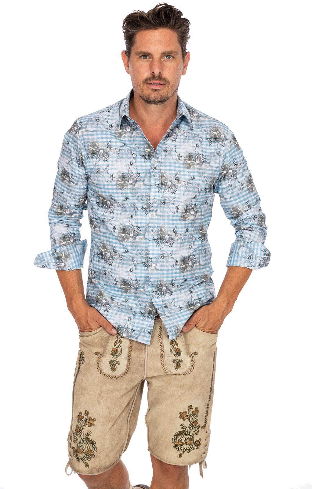 weitere Bilder von Trachtenhemd Langarm TOBIAS blau