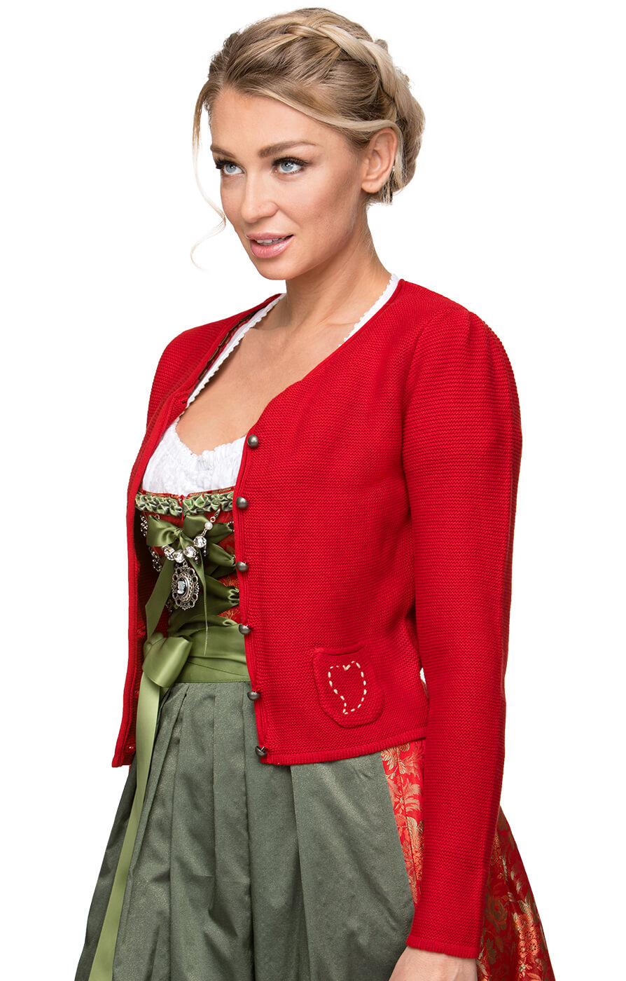 Dirndlstrickjacke Rosali links/links rot von Stockerpoint