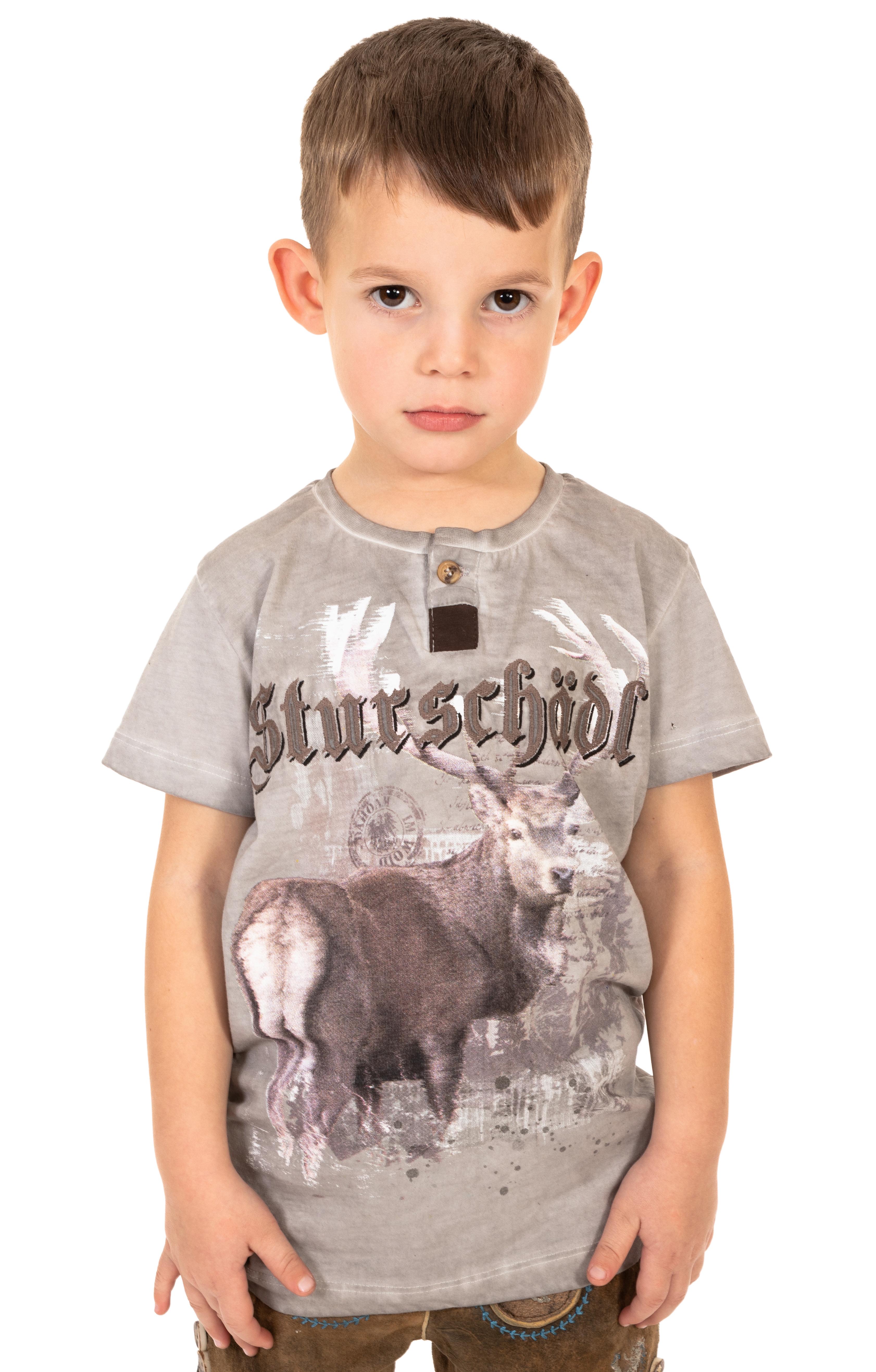 Trachten Kinder T-Shirt M28 STURSCHAEDEL KIDS grau von Marjo