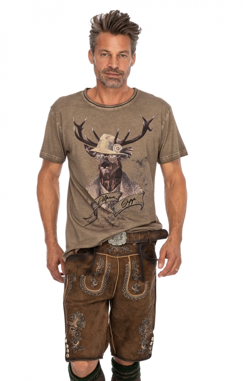 Lederhosen short with belt THOMAS-2 stone
