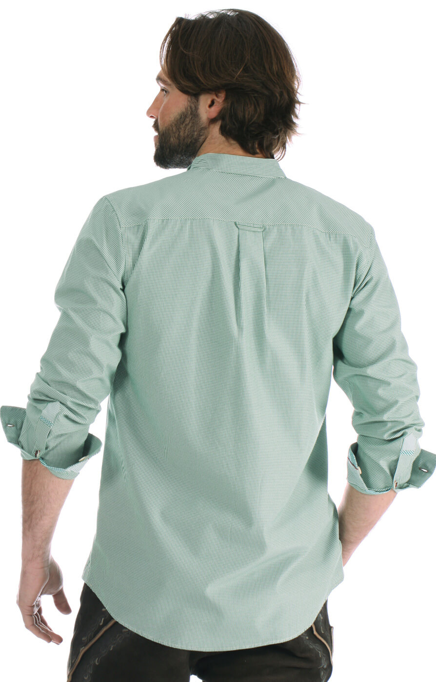 weitere Bilder von Trachtenhemd Pfoad Stehkragen grün