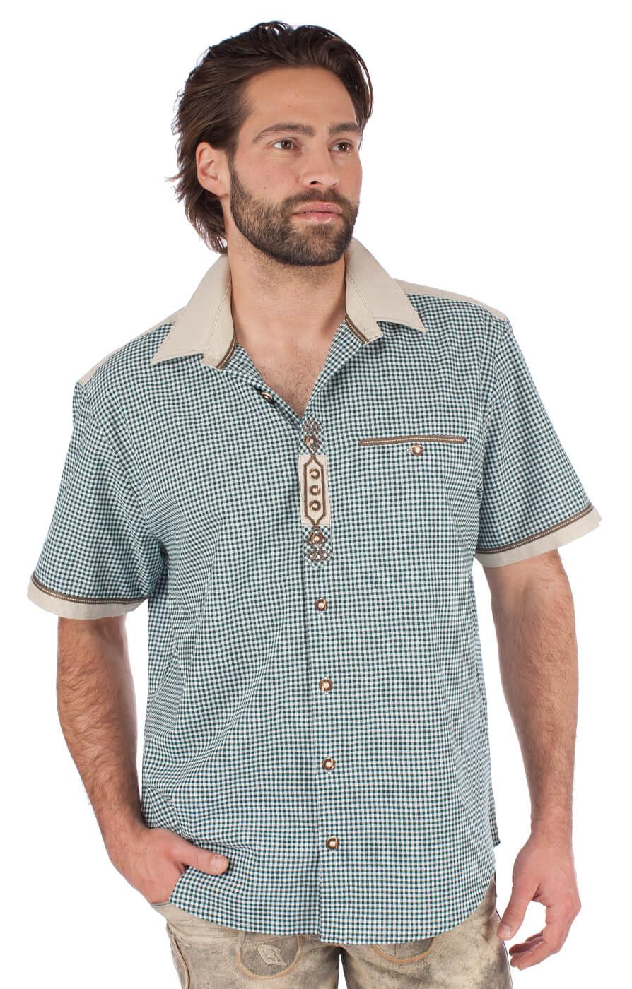 Trachtenhemd DOMINIC Halbarm grün von OS-Trachten