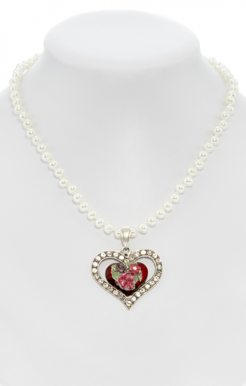 Pearl necklace with heart pendant rot