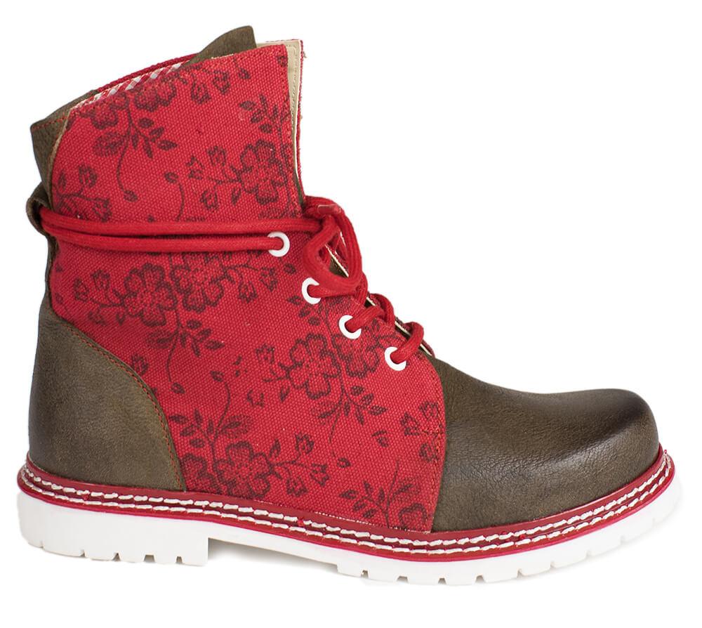 Trachtenstiefel D469 Janina Leinen /Leder rot rustik von Spieth & Wensky