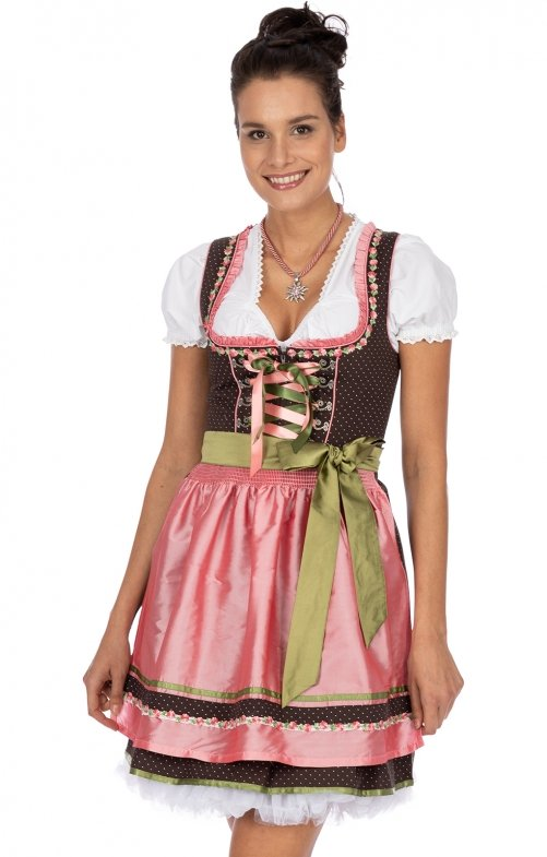 Minidirndl 2pcs. 50 cm PATTY brown pink