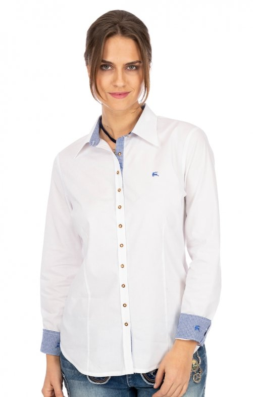 Traditional blouse CAROLIN white blue