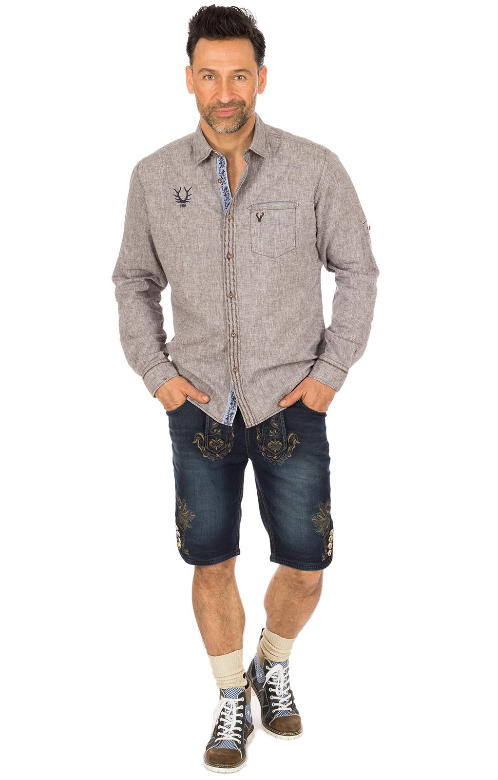 weitere Bilder von Trachtenhemd LUIS Baumwolle braun