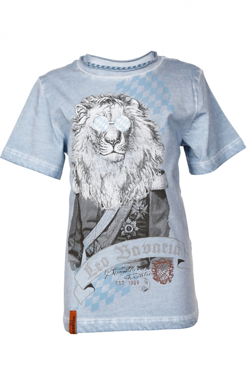 Children traditional shirt G15 - LEO BAVARIA KIDS dusty blue