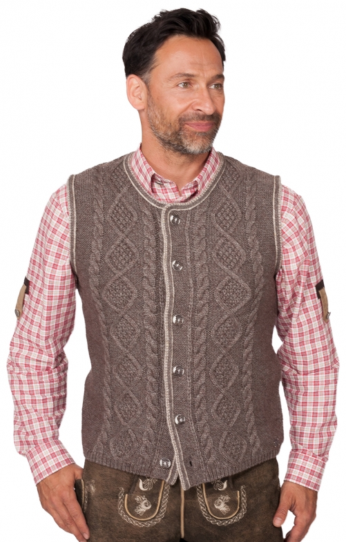 German knitted waistcoat ERMELO beige brown