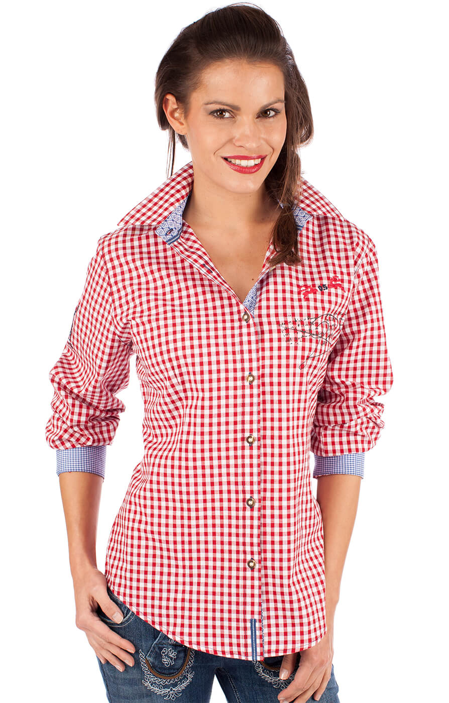 Traditional blouse ILINA red von OS-Trachten