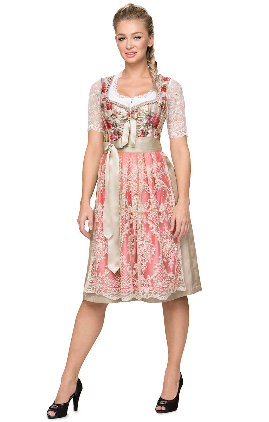 Mididirndl 65cm 2tlg. Virginia Flower beige hummer von Stockerpoint