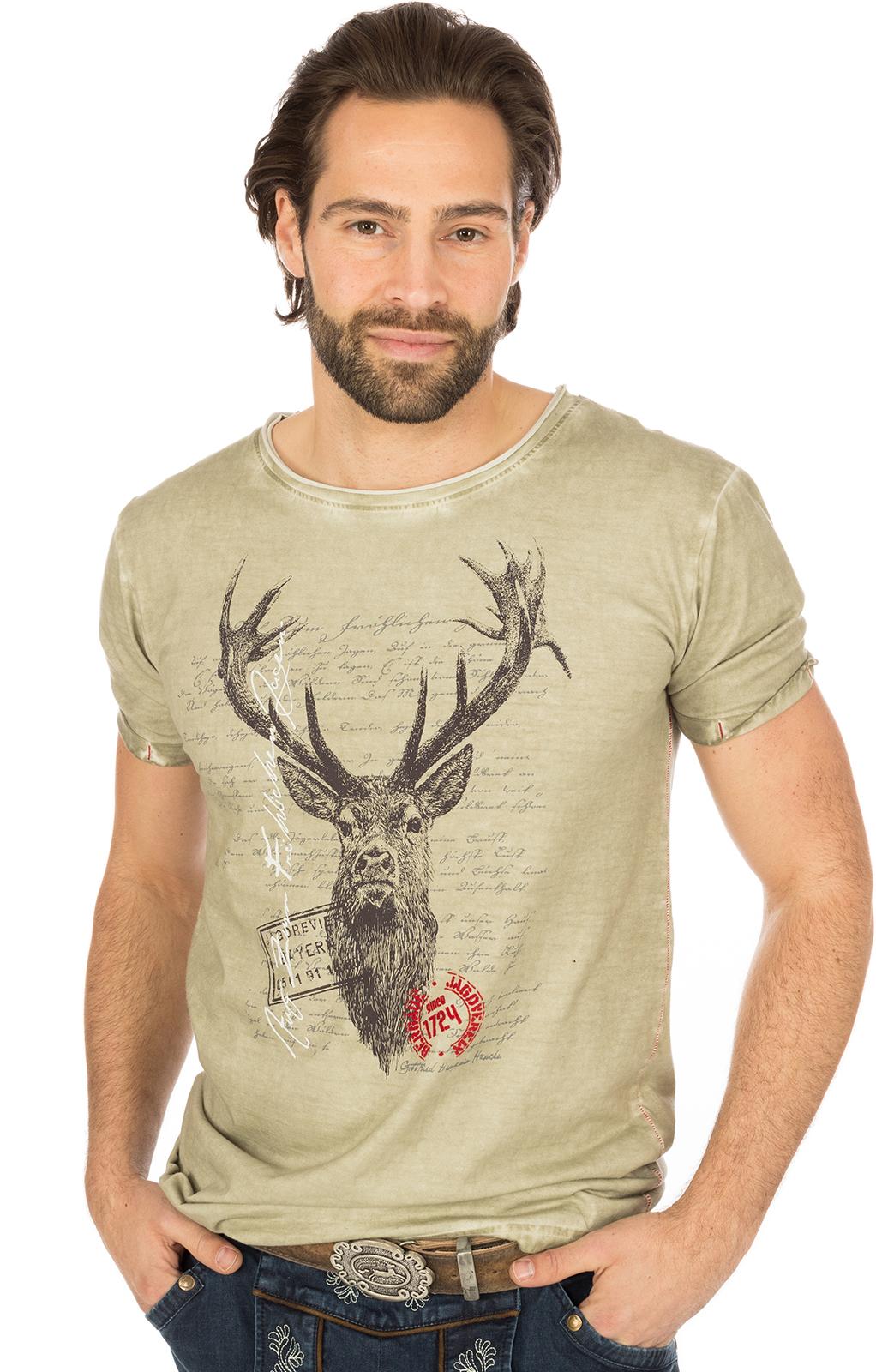 Trachten T-Shirt M04 JAGDLIED Hirsch beige von Marjo