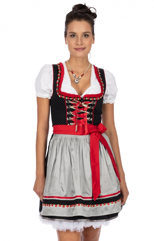 Minidirndl 2pcs. 50 cm PATTY black silver
