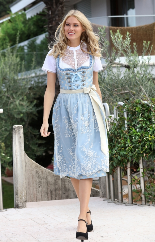 Mididirndl 2pcs. 70 cm LANA light blue cream