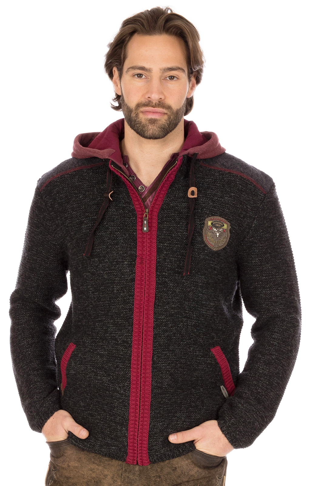 Traditional german cardigan black red von Spieth & Wensky