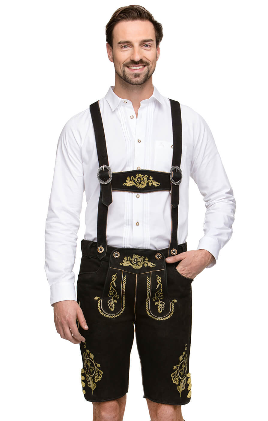 German leather trousers with suspenders RUPERT black yellow von Stockerpoint