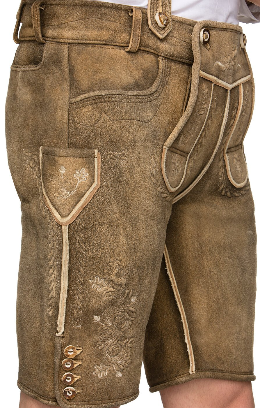 weitere Bilder von Deerskin leather trousers short h-braces H1010 stoaoid