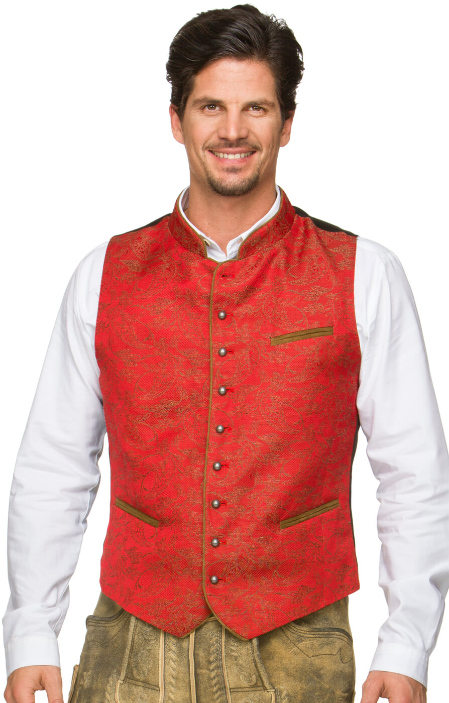 Traditional waistcoat Paolo red von Stockerpoint