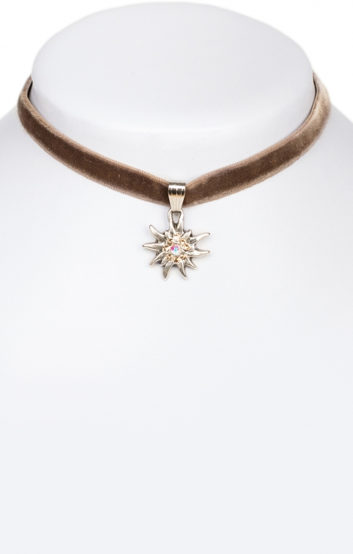Traditional necklace Edelweiss 9197-SB brown