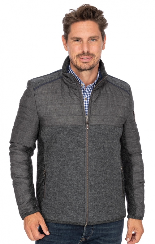 German traditional jacket MONTREAL medium gray blue