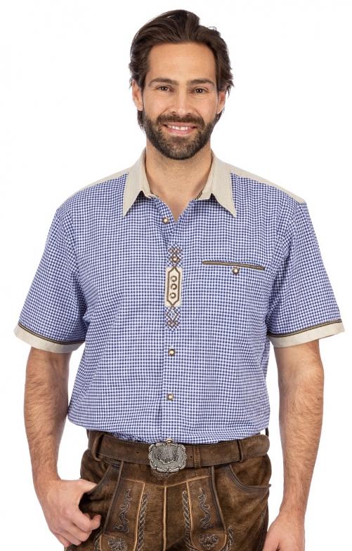 Tradizionale camicia a maniche corte DOMINIC blu