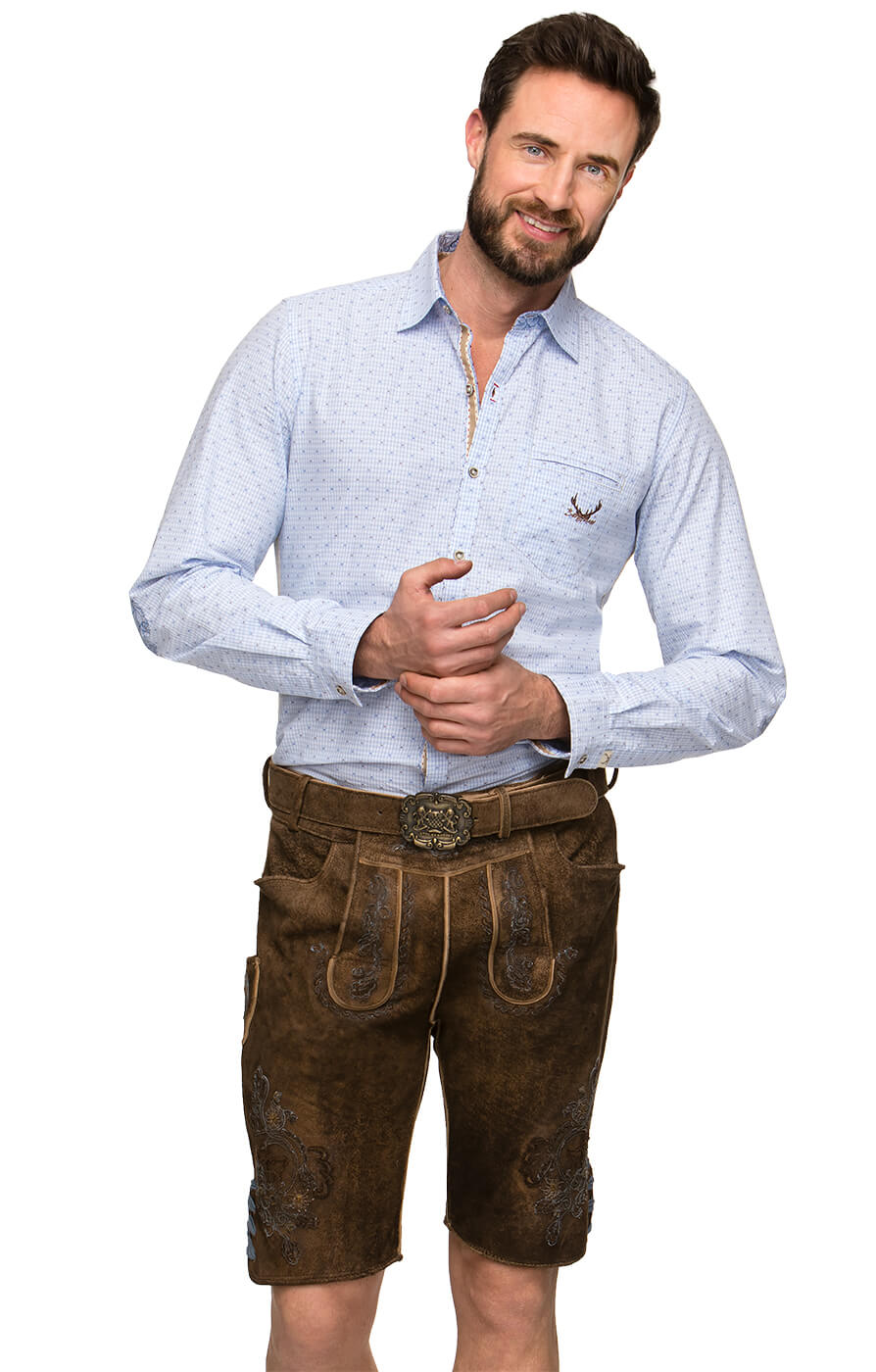 German leather trousers with belt ARON blue von Stockerpoint