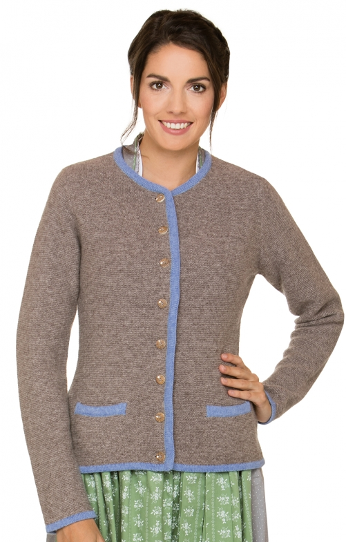 Traditional Cardigan CARO truffle-bleu