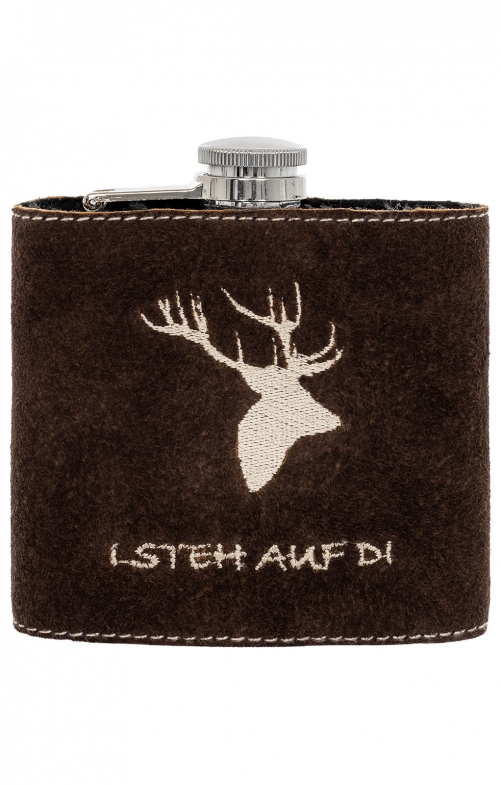 Hip flask with leather HIRSCH brown