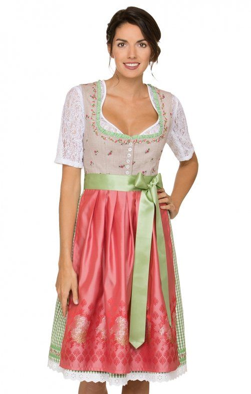 German Midi dirndl 2pcs. Talera brown red 65 cm