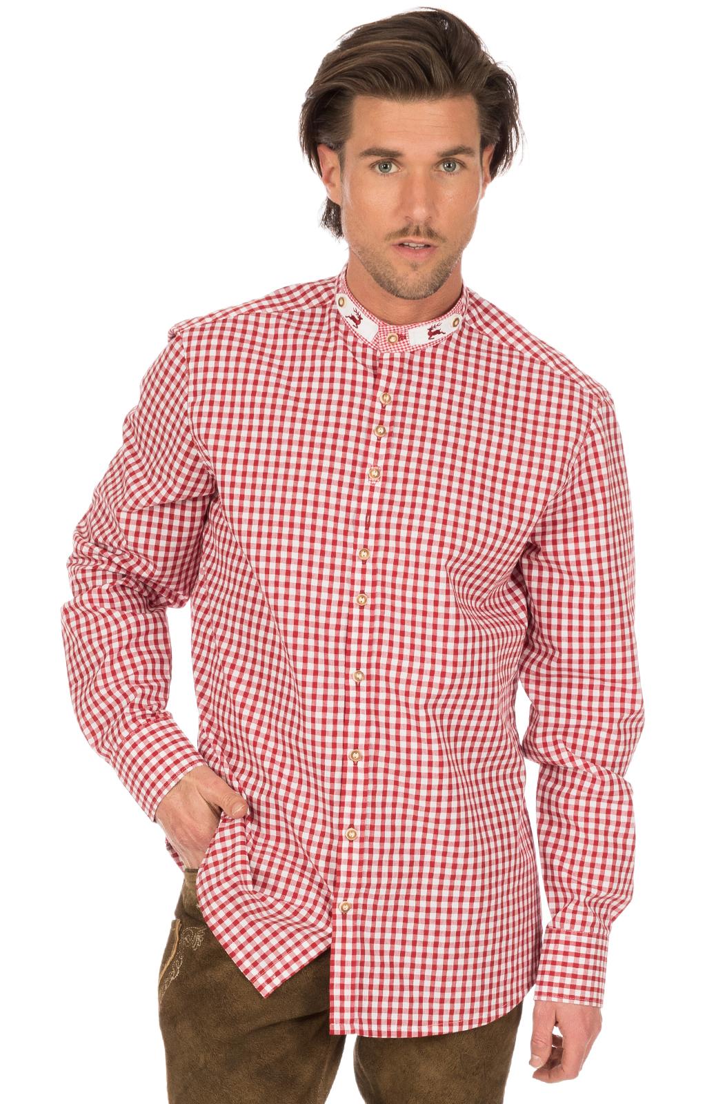 weitere Bilder von Trachtenhemd IRANO Stehkragen rot weiss