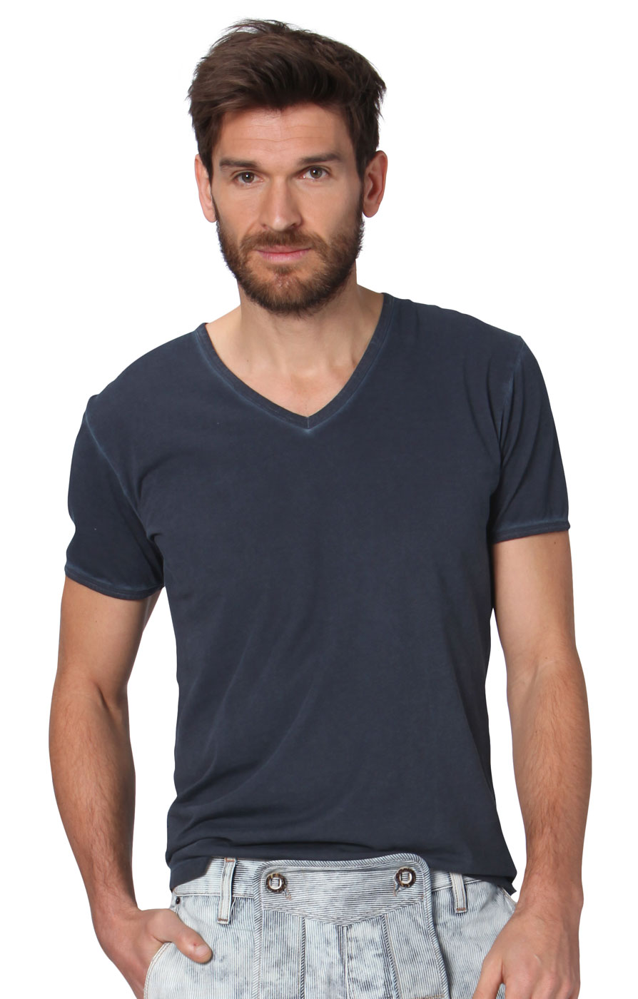 Trachten T-Shirt V-Form Falko anthrazit von Stockerpoint