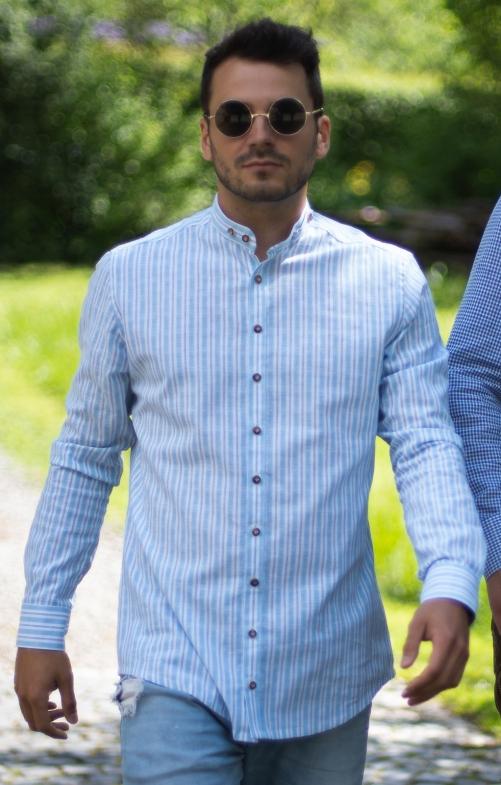 Camicia per Trachten Vestibilità AVERY blu