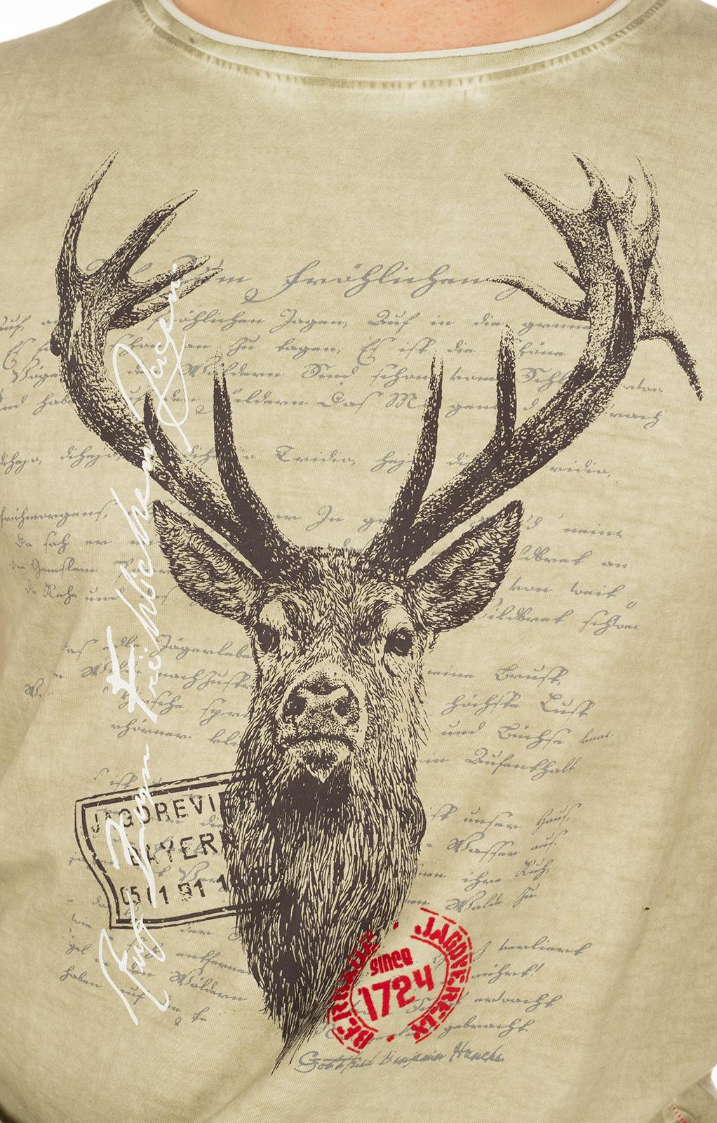 weitere Bilder von Trachten T-Shirt M04 JAGDLIED Hirsch beige