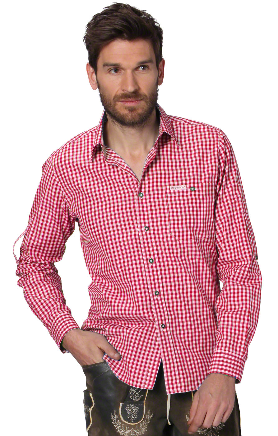 German traditional shirt checkered Campos2 red von Stockerpoint