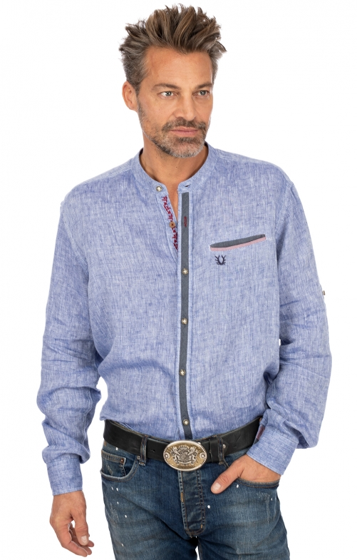 Stehkragenhemd PEER blau