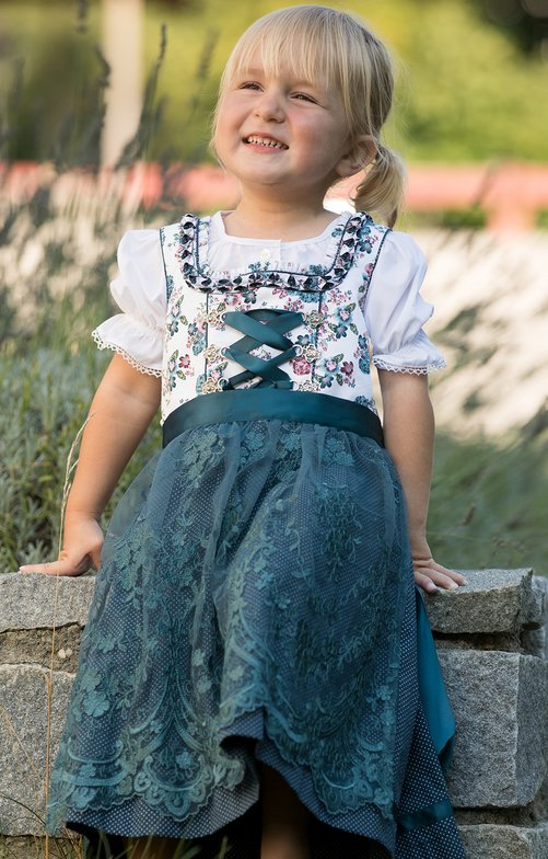 Traditional Children dirndl DAGOBA-KIDS white petrol