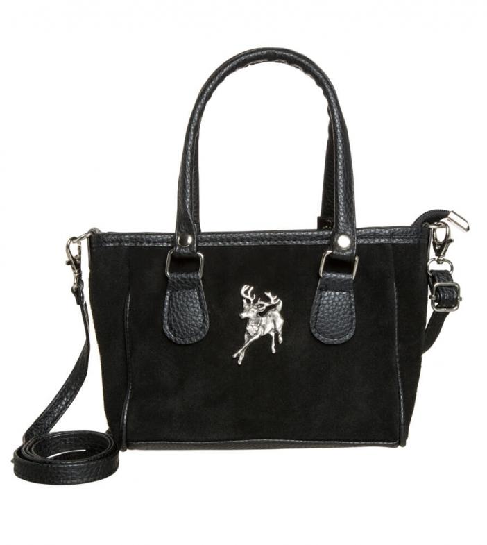 Kleine Trachtentasche TA30880 Veloursleder, schwarz