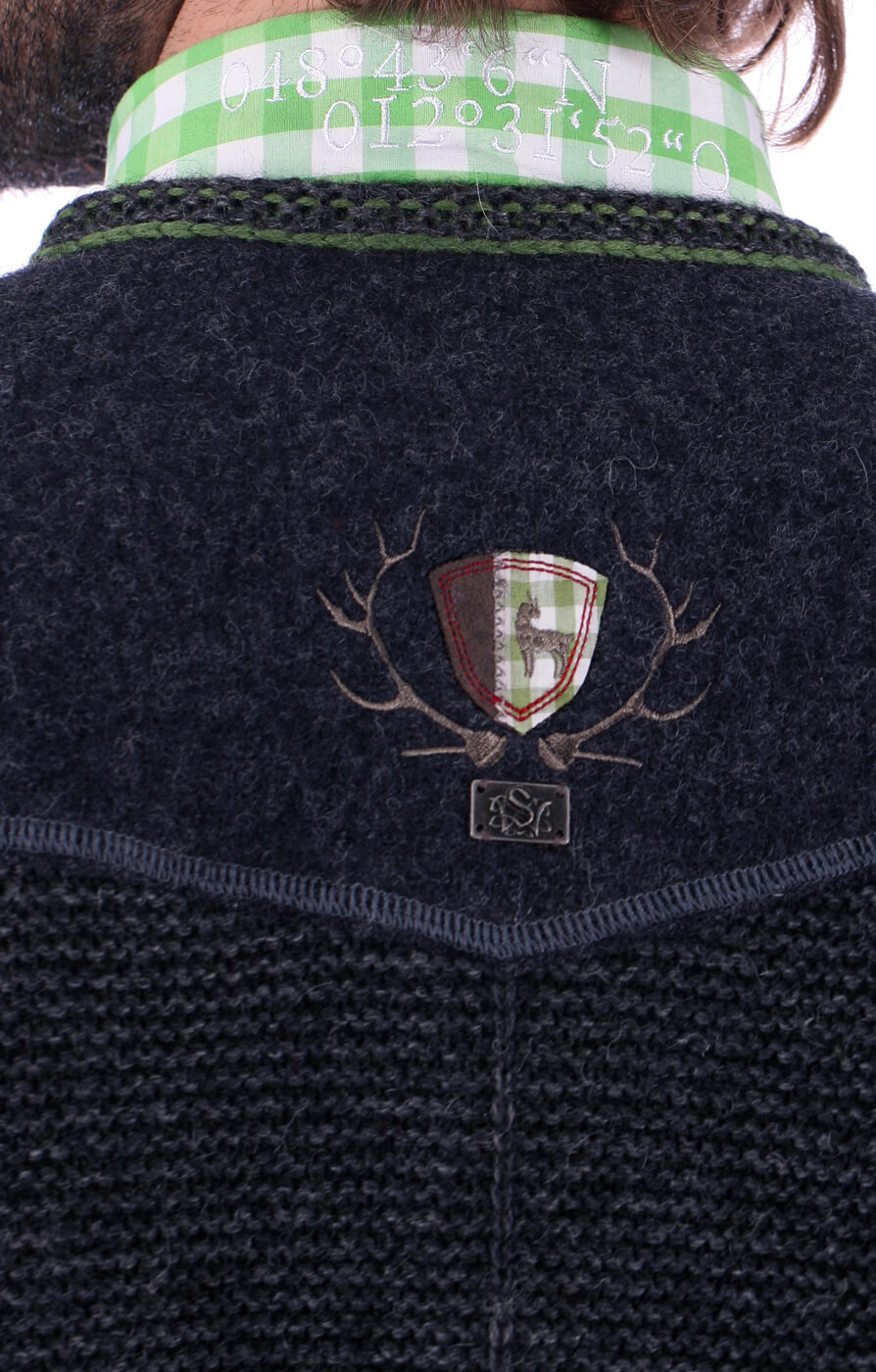 weitere Bilder von Trachten Strickjacke Ramstein sportlich anthra-grün