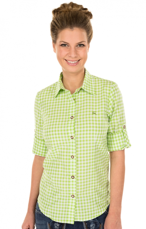 Traditional blouse CHECKERED green