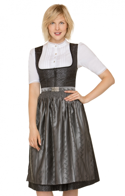 German Midi dirndl 2pcs. Fabia black 70 cm