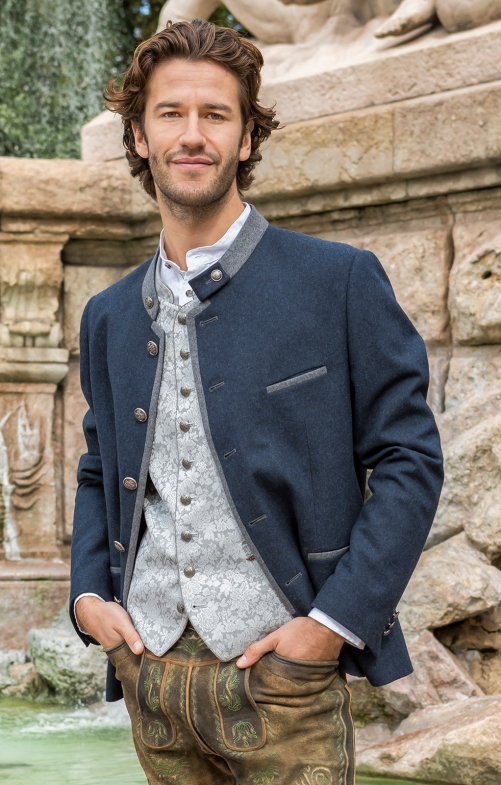 German traditional jacket QUINTUS blue stone