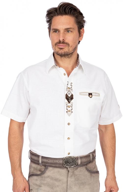 Trachtenhemd DIRK Sticklegende Halbarm weiss