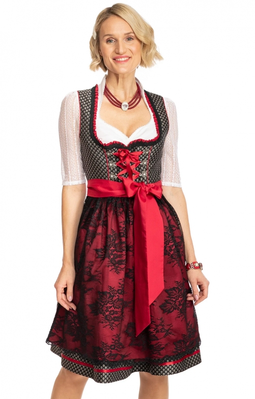 Midi Dirndl 2tlg. 60 cm JANA schwarz rot