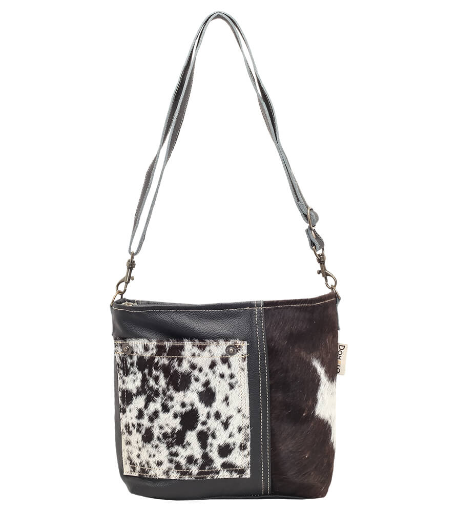 Trachtentasche TA53029 schwarz weiss mit Echt Kuhfell von Schuhmacher